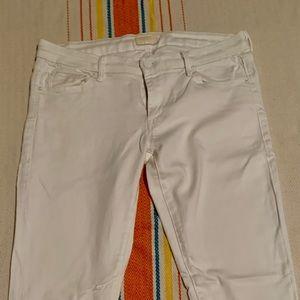 Mother Denim Skinny White Jeans